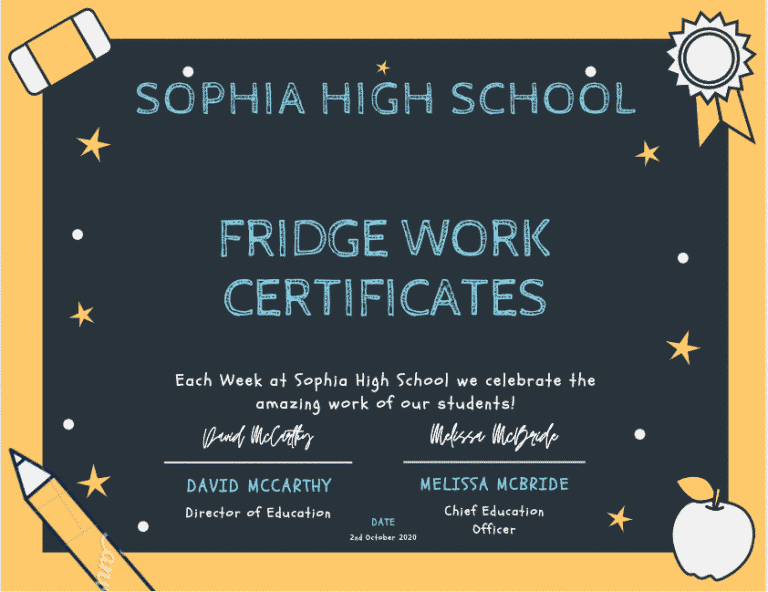 fridge work certificates sophia high school